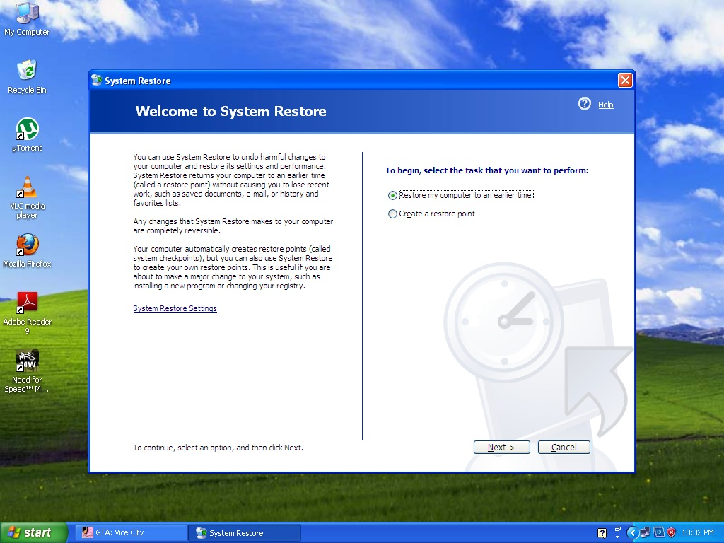 windows xp how to create a restore point
